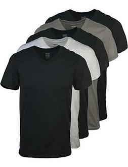Gildan Men's V-Neck T-Shirts Multipack Assorted 5 Pack,Black