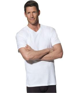 Hanes Men's V-Neck Tall White T-Shirt Undershirt FreshIQ LT-