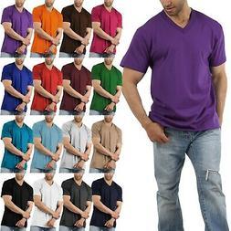 Men Solid V-Neck Short Sleeve T-Shirts Heavy Comfort Big and