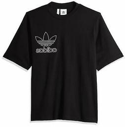 Adidas Men T-Shirt Black Size XL Outline Short Sleeve Graphi