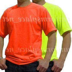 Men T Shirt Polyester Pocket short sleeve Tee shirt Hi-Vis S