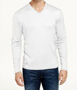 Calvin Klein Men T-Shirt White Size Medium M V-Neck Long Sle