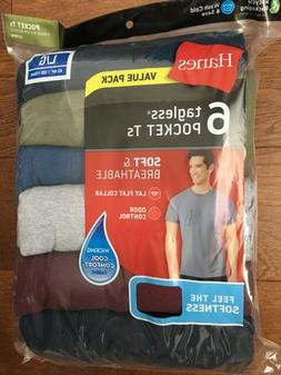 Hanes Men's 6 Tagless Pocket Colored T Shirts Size Large