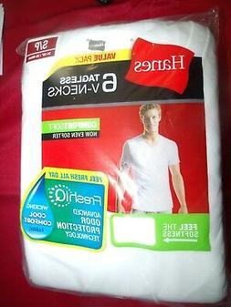 Mens Hanes 6 Tagless V-Neck Comfort Blend T-Shirts White Siz