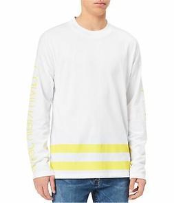 Calvin Klein Mens Athletic Stripe Logo Graphic T-Shirt white