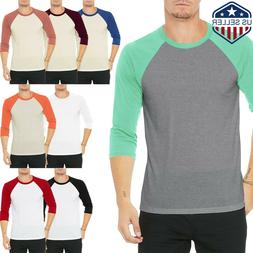 Mens Baseball RAGLAN T Shirts 3/4 Sleeve Tee Team Sport Jers