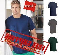 Hanes Mens Blank Short Sleeve Tagless T Shirt with a Pocket