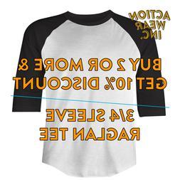 SHAKA MENS PLAIN BASEBALL T SHIRT 3/4 SLEEVE CASUAL RAGLAN T