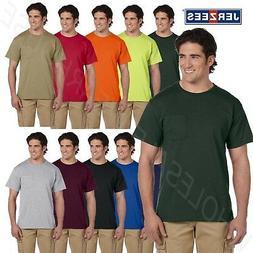 JERZEES Mens Pockek T-Shirt Heavyweight 50/50 Blend Dri-Powe