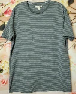 Goodthreads Mens Large Grey and White Lightweight Slub Crewn