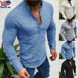 Fashion Mens T Shirt Long Sleeve Linen Shirts Casual Breatha