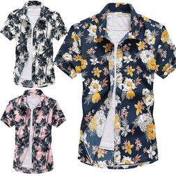 Mens Short Sleeve Blouse Hawaiian Shirts Summer Beach Holida