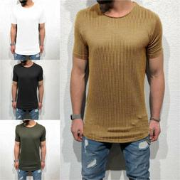 Mens Slim Fit Short Sleeve Muscle T Shirts Plain Ribbed Tops