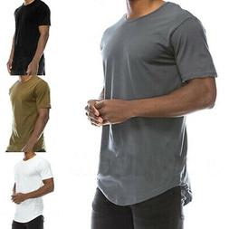 Mens Solid Pullover T-shirts Casual Gym Basic Tee Shirts Rou