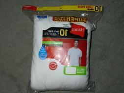 Hanes Mens Super Value 10-Pack White Tagless T Shirts   - NE