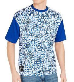 Calvin Klein Mens T-Shirt Blue Size Large L All-Over-Logo Te