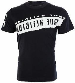 TRUE RELIGION Mens T-Shirt STENCEL GRAPHIC Black with White
