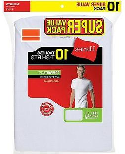 Hanes Mens T-Shirts 10-Pack WHITE TAGLESS Comfort Soft Crew