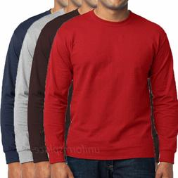 Mens T Shirts Long sleeve Crew Neck Tee Solid Plain Colors C