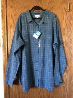 Columbia Mens Vapor Ridge III Blue Plaid Shirt Long Sleeve S