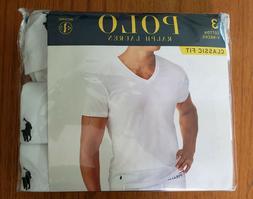 Polo Ralph Lauren Mens White Classic Fit V-Neck Undershirts