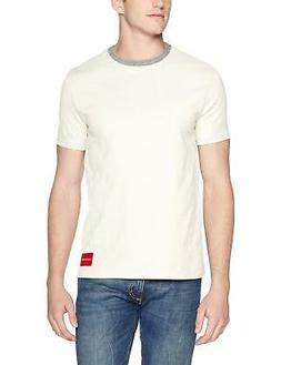 Calvin Klein Mens White Ivory Large L Rib-Collar Contrast T-