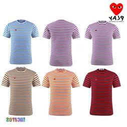 Mens Women's T-Shirt Short Sleeve Designer Striped Crew Neck