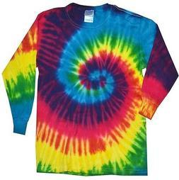 Multi-Color Reactive Long Sleeve Tie Dye T-Shirt Adult S - X