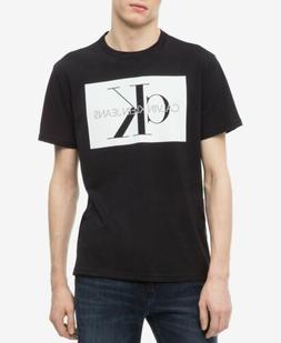 New $115 Calvin Klein Men'S Black White Crew-Neck Short-Slee