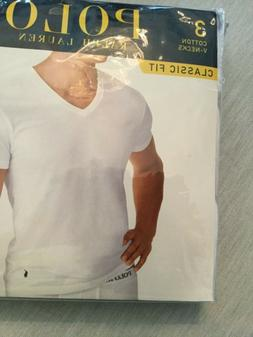 New Polo Ralph Lauren 3 Pack White Classic Fit V-Neck T-Shir