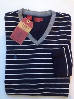 New $50 Izod Navy blue/White Striped long sleeve V neck T Sh