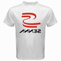 New AYRTON SENNA Logo Racing Champion Legend Men's White T-S