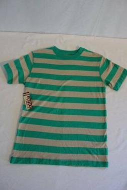 NEW Boys Striped T-Shirt Size 12 - 14 Large Top Green Tan Te