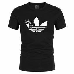 New Cotton Men T-Shirt Adidas Alike Casual Active Wear Fashi
