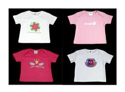 NEW Girls Organic Cotton T-shirts pack of 4 size 6M, 9M, 12M