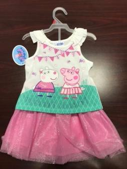 """NEW Girls Peppa Pig outfit """"Friends Forever"""" T-shirt and sko"""