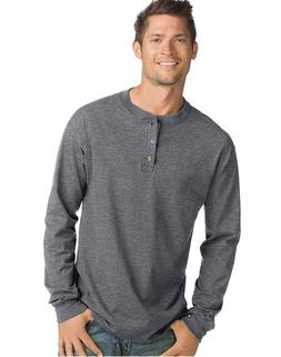 New Men's Hanes 3 Button Long Sleeve Soft  Beefy T Henley Sh