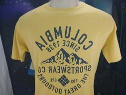NEW Columbia Men's Graphic T Shirt Sz Large  Sportswear Yell