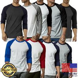 New Mens 3/4 Sleeve Baseball shirts T-Shirts Raglan Jersey A