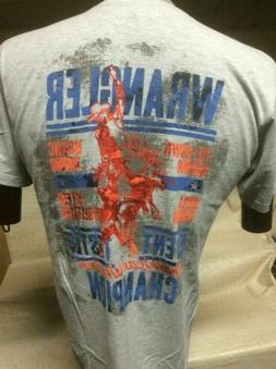 New Mens Western Wrangler T-Shirt Grey