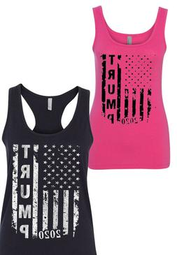 NEW! TRUMP 2020 US American Flag T-shirts Unisex Woman V Nec