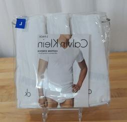NWT 3 Pack Calvin Klein Mens Classic Fit Cotton Stretch V-Ne