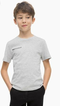 NWT Calvin Klein Boys 100% Organic Cotton Logo Light Grey T-