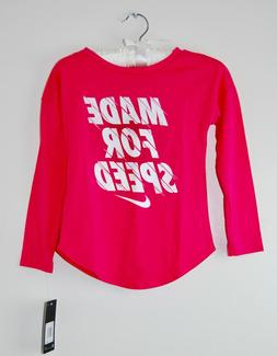 NWT Nike Little Girls Rush Pink MADE FOR SPEED Logo Crewneck