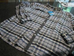 NWT - Mens COLUMBIA Blue Plaid Heavy Flannel Shirt