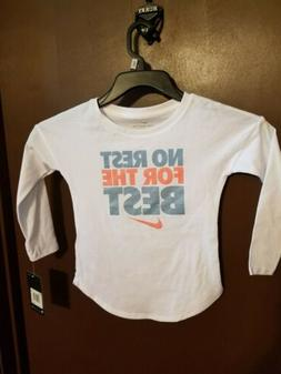 """NWT toddler girls nike """"no rest for the best"""" long sleeve sh"""