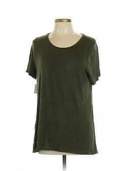 NWT Amazon Essentials Women Green Short Sleeve T Shirt L