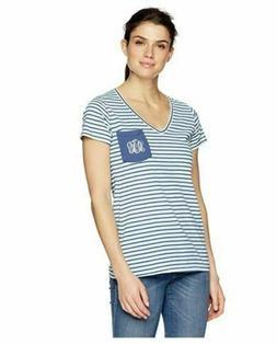 Columbia PFG Women's Monogram Wind Navy Stripe Tee Shirt Siz