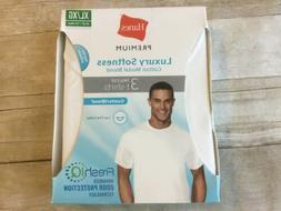 Hanes Premium Mens White Cotton Tagless Crewneck T-Shirts Un