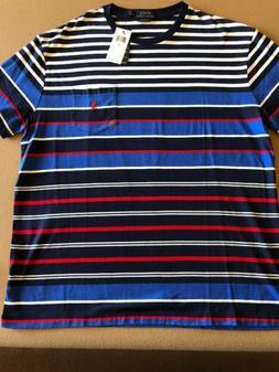 Ralph Lauren Polo Men SZ L POCKET T Shirt BLUE WHITE RED STR